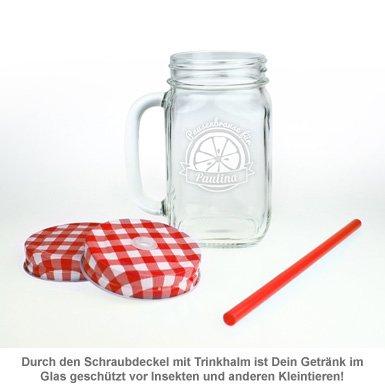 Glas mit Deckel und Strohhalm zum Geburtstag - 4