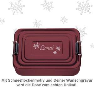 Gravierte Lunchbox zu Weihnachten - quadratisch (rot) - 2