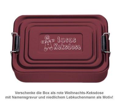 Gravierte Lunchbox zu Weihnachten - quadratisch (rot) - 3