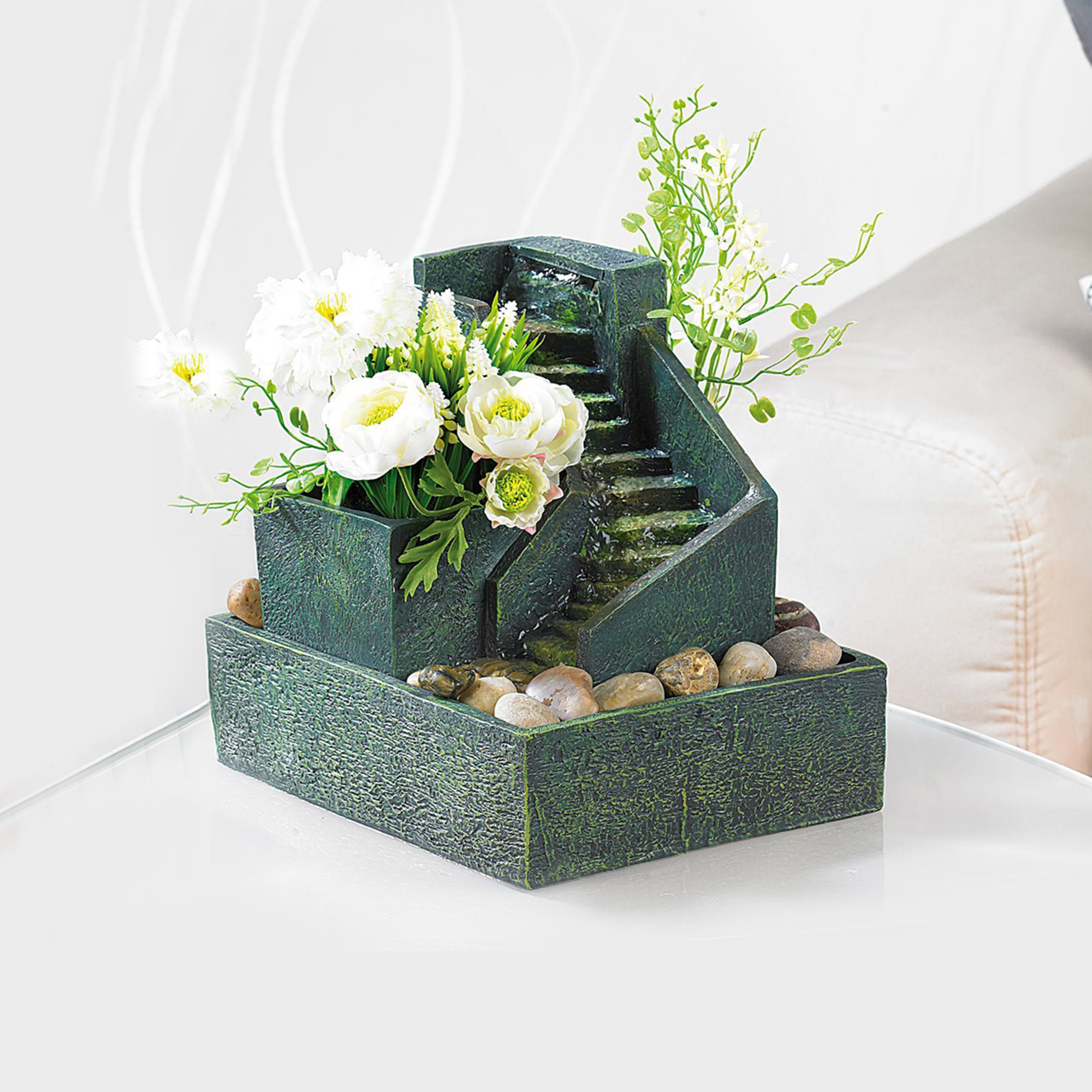 Zimmerbrunnen zum Bepflanzen - mit Steinstufen - 2