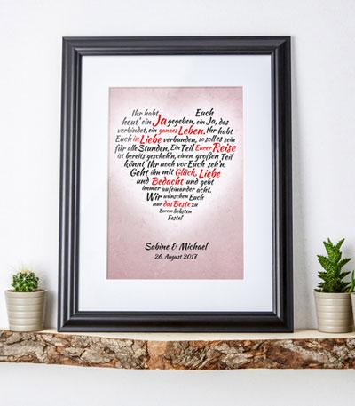 Herz aus Worten - personalisiertes Bild zur Hochzeit - 3