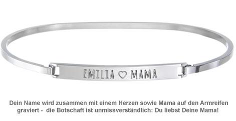 Armreif Silber mit Gravur - Mama Name - 2