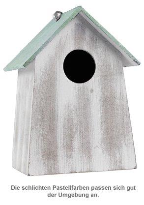 Vogelhäuschen mit Holzgravur - grün - 2