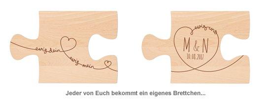 Personalisiertes Puzzle Brettchen Set - Ewig Dein - 2