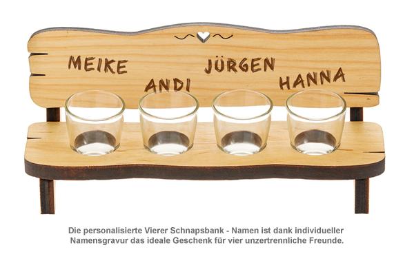 Personalisierte Vierer Schnapsbank - Namen - 2
