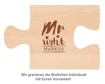 Personalisiertes Puzzle Brettchen Set - Mr and Mrs Right - Holz
