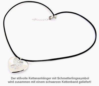 Herzanhänger mit Gravur - Schmetterling - 3