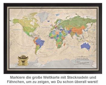 Reise-Weltkarte Deluxe mit Stecknadeln - Heißluftballon - 3