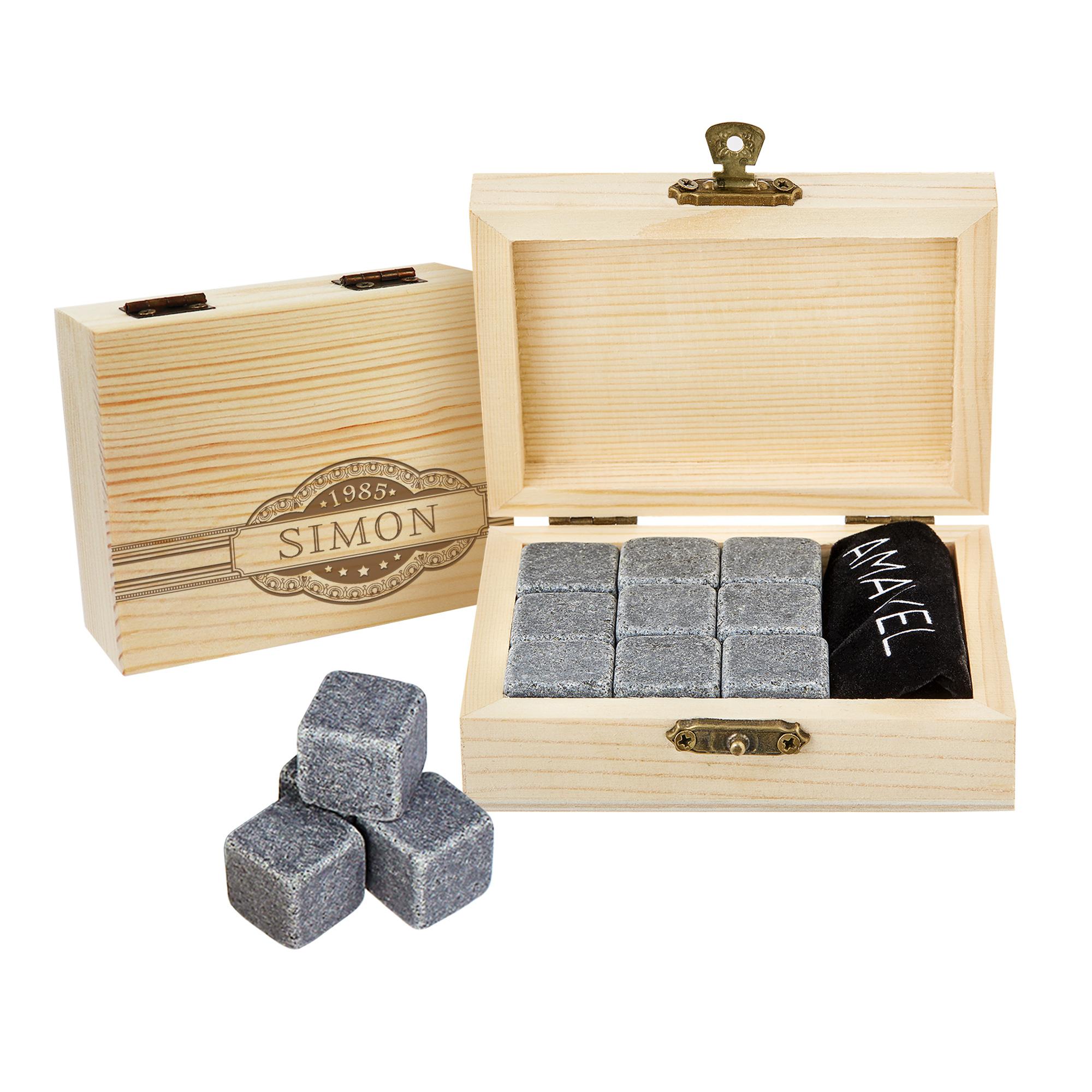 Whisky Steine in Holzkiste mit Gravur - Banderole - 2