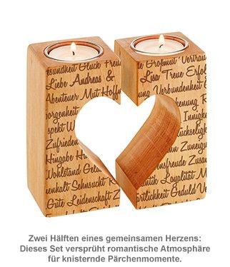 Kerzenhalter Set Herz - Liebesworte mit Namensgravur - 2