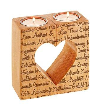 Kerzenhalter Set Herz - Liebesworte mit Namensgravur - 3