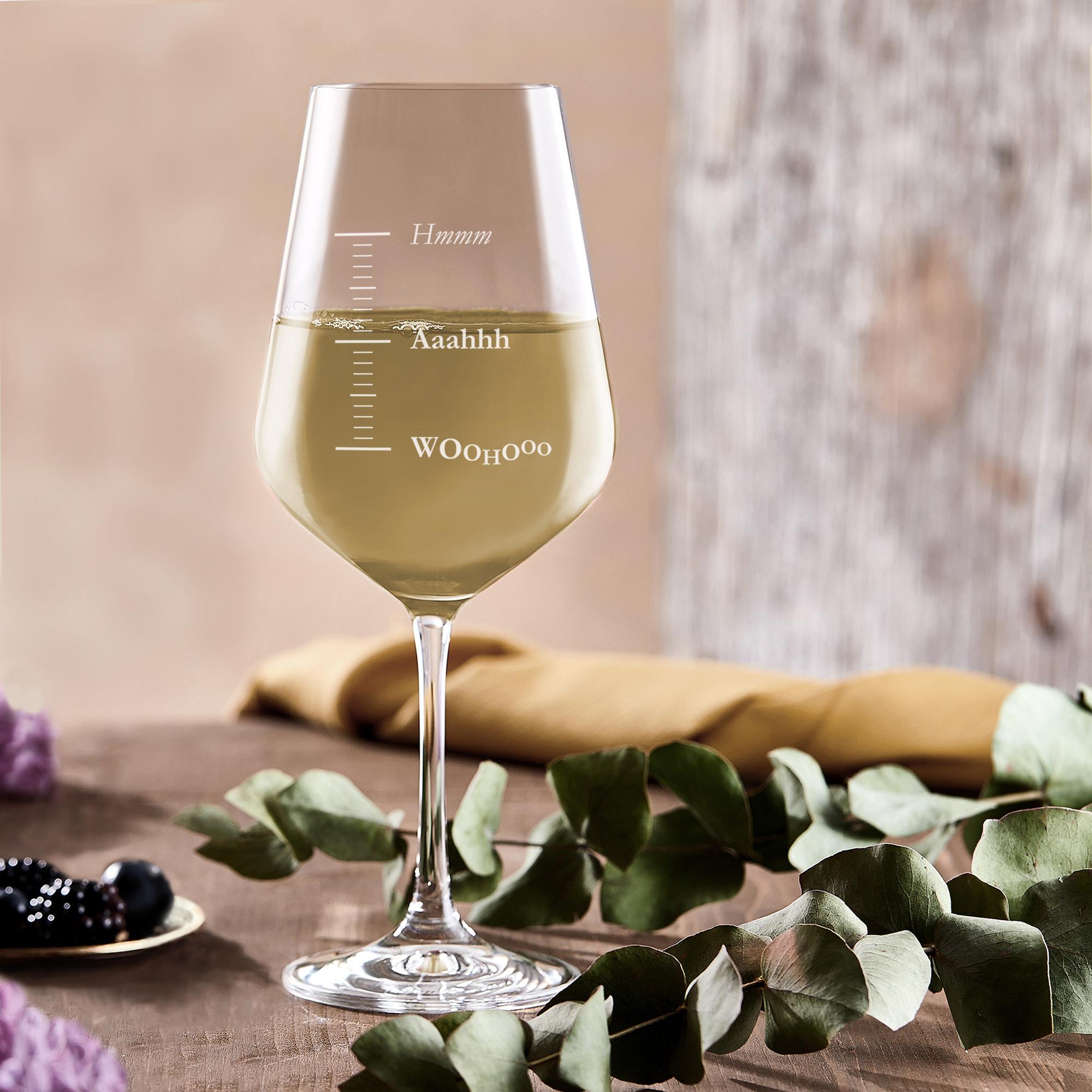 Weißweinglas mit Gravur - Woohooo - 4