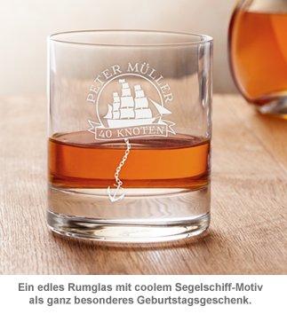 Personalisiertes Rumglas zum Geburtstag - Segelschiff - 3