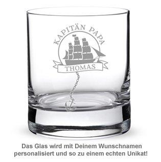 Personalisiertes Rumglas für Papa - Segelschiff - 2