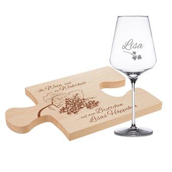 Weinhäppchen - Glas und Brettchen personalisiert - 4