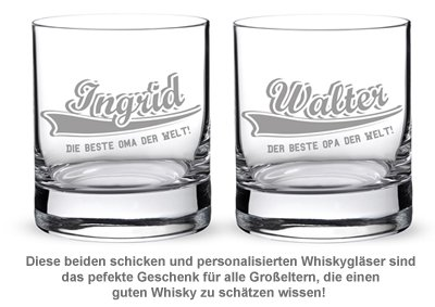 Whiskygläser mit College Motiv - Oma & Opa - 2