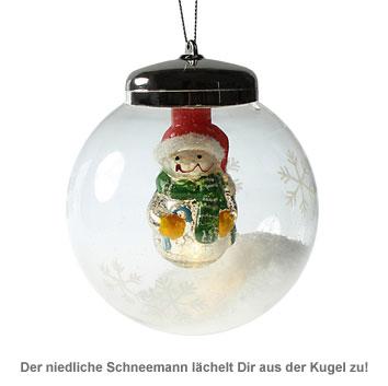 LED Weihnachtskugel - Schneemann - 2