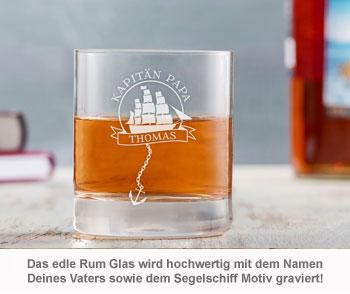 Rum Set mit Globus Karaffe und Glas - Segelschiff für Papa - 2