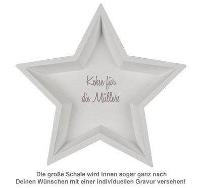 Deko Holzschalen mit Gravur - Stern Weiß - 2