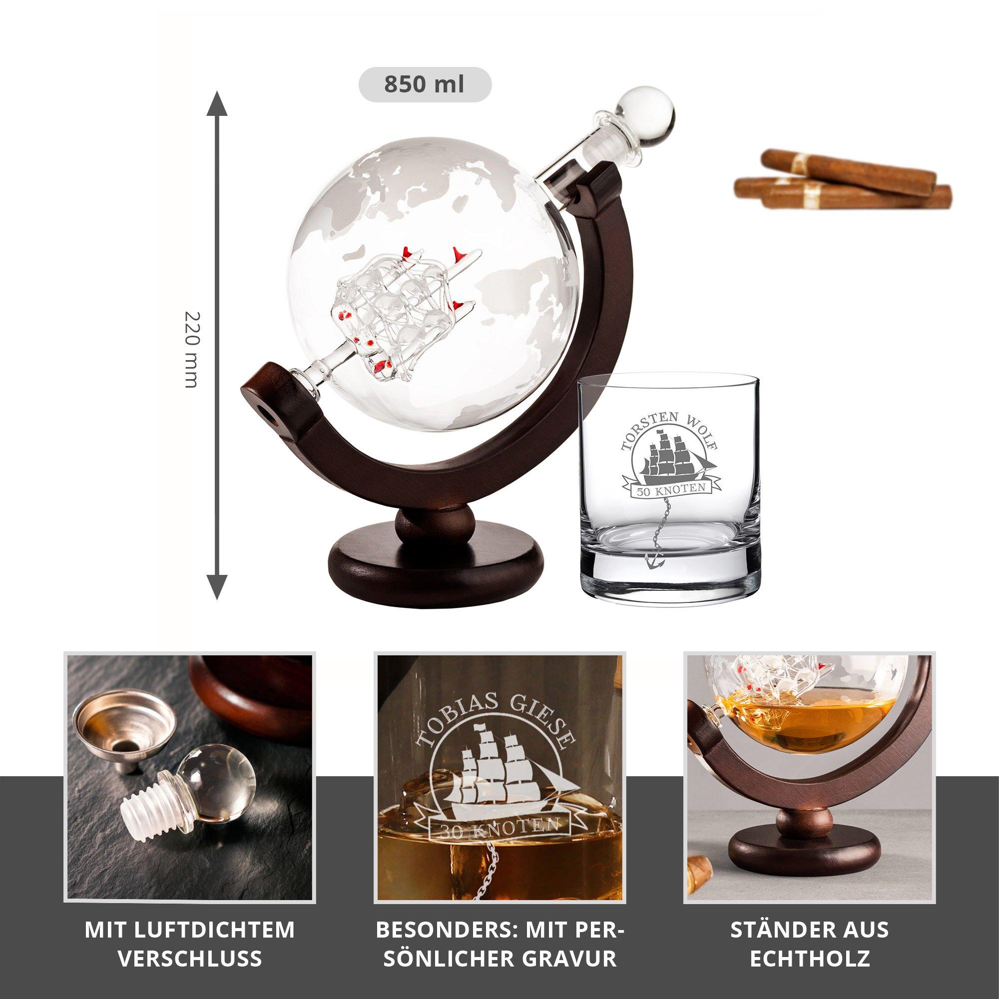 Rum Set mit Globus Karaffe und Glas - Segelschiff - 2