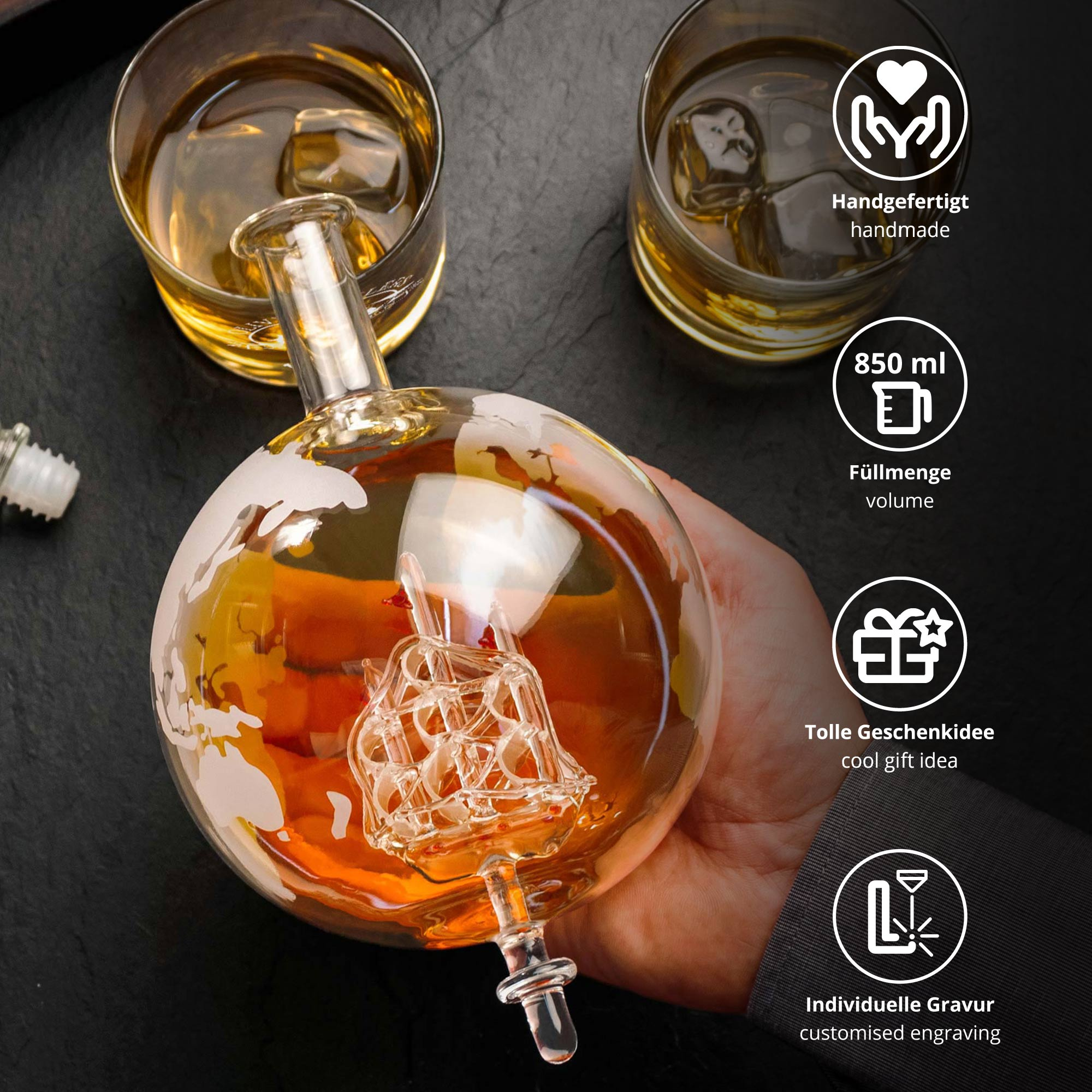Rum Set mit Globus Karaffe und Glas - Segelschiff - 4