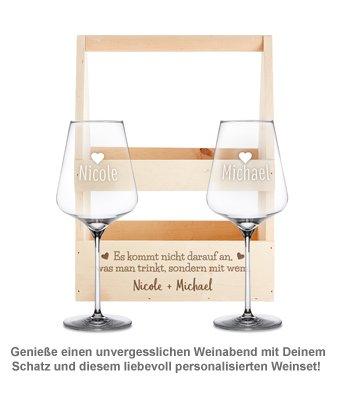 Personalisierter Flaschenträger mit Weingläsern - Liebesspruch - 2