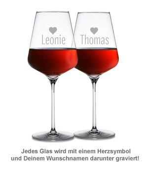 Personalisierter Flaschenträger mit Weingläsern - Liebesspruch - 3