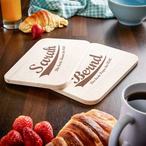 Frühstücksbrettchen Set mit Gravur - Die besten Eltern - 4
