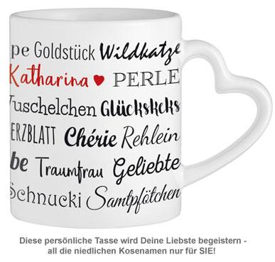 Personalisierte Herz Henkeltasse - Kosenamen Frau - 2