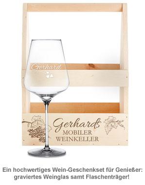 Flaschenträger mit Weinglas personalisiert - Mobiler Weinkeller - 2