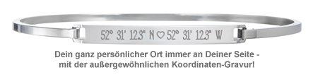 Armreif Silber mit Gravur - Geokoordinaten mit Herz - 2