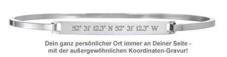 Armreif Silber mit Gravur - Geokoordinaten - 2