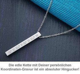 Kette mit Stabanhänger Silber - Geokoordinaten - 3