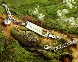 Armband mit Herzstanze Silber - Namensgravur - 4