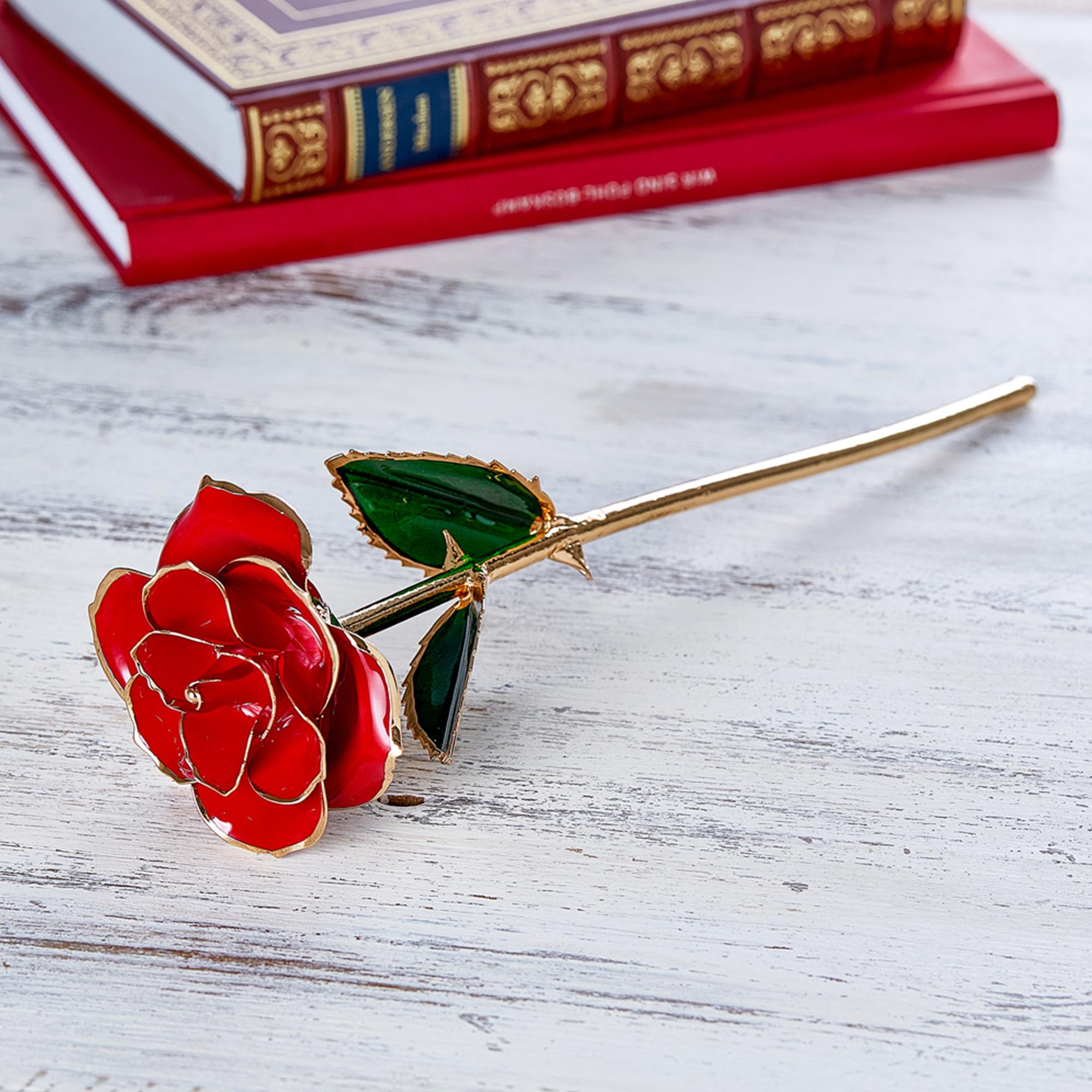 Vergoldete Rose mit personalisierter Geschenkbox - 3