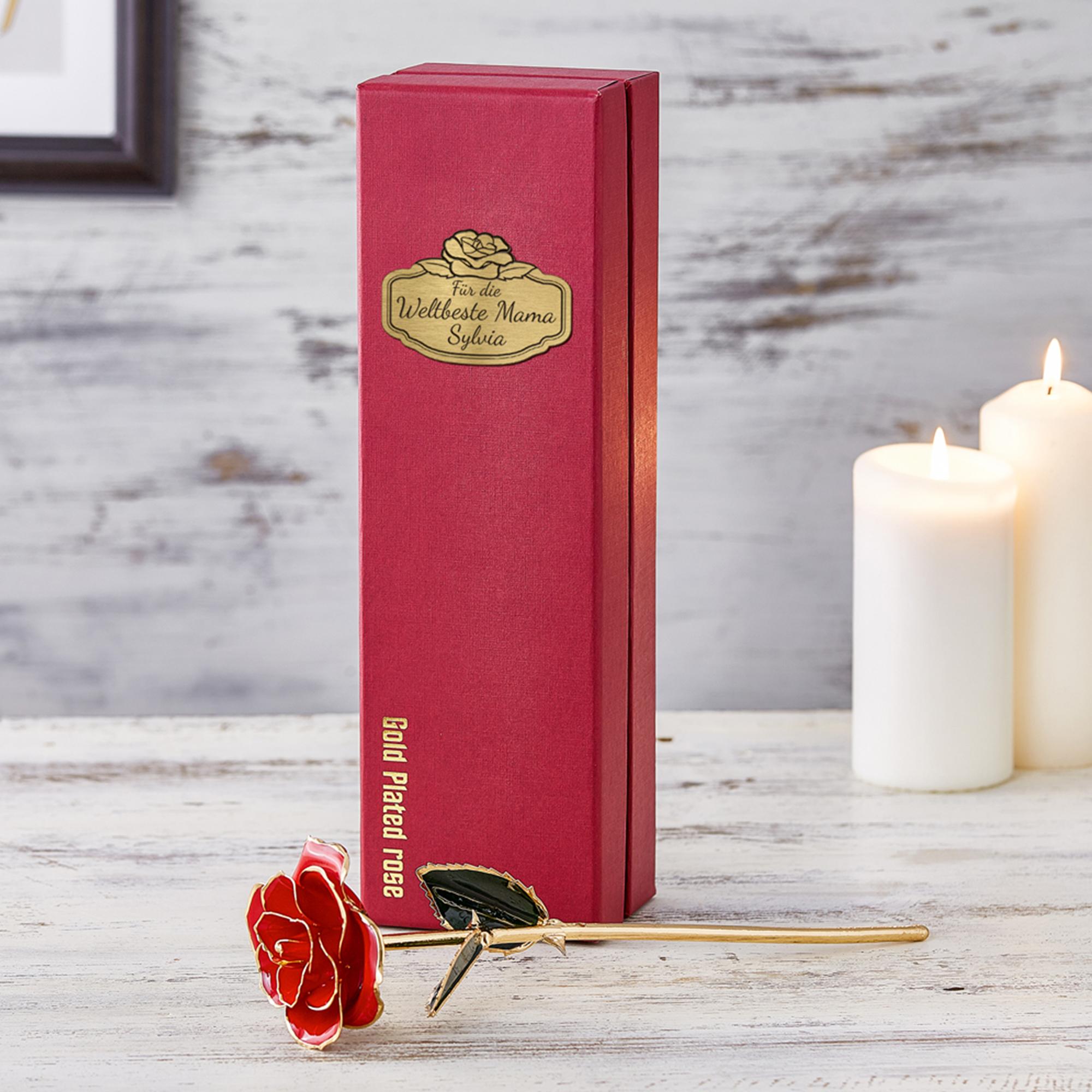 Vergoldete Rose mit Geschenkbox - Weltbeste Mama - 2
