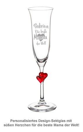 Herzen Sektglas mit Gravur - Beste Mama der Welt - 2