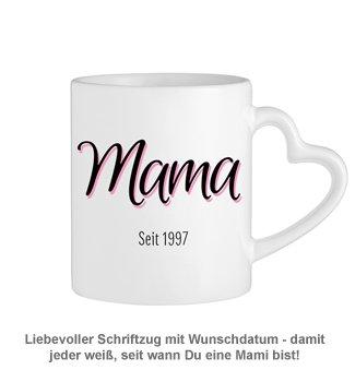 Personalisierte Herz Henkeltasse - Mama seit - 2