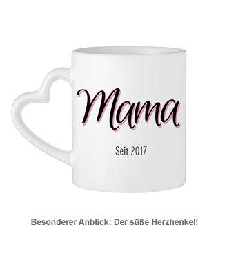 Personalisierte Herz Henkeltasse - Mama seit - 3