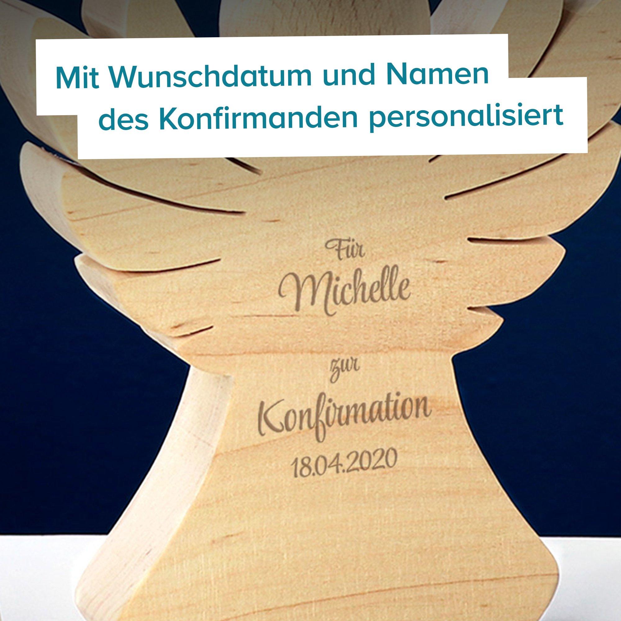 Holzengel mit Gravur zur Konfirmation - 3