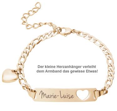 Armband mit Herzstanze Gold - Namensgravur - 2