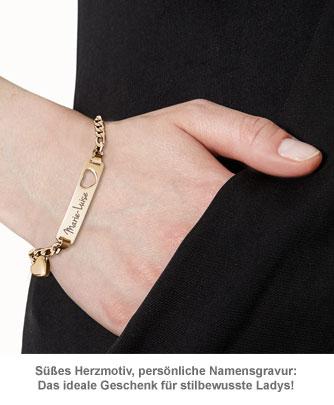 Armband mit Herzstanze Gold - Namensgravur - 3