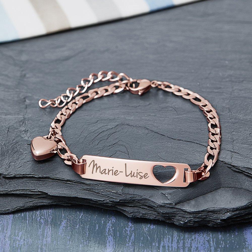 Armband mit Herzstanze Rosegold - Namensgravur - 3