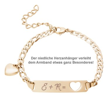 Armband mit Herzstanze Gold - Initialengravur - 2