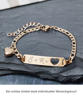 Armband mit Herzstanze Gold - Initialengravur - 3