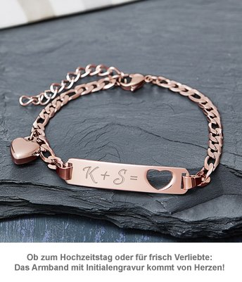 Armband mit Herzstanze Rosegold - Initialengravur - 3