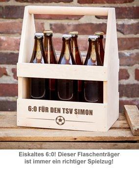 Fußball Flaschenträger mit Gravur - 6:0 - 2