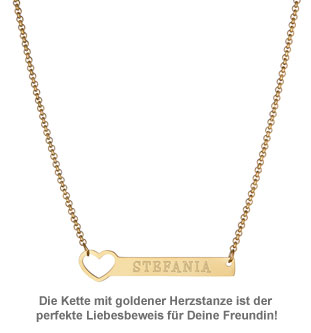 Kette mit Herzstanze Gold - Namensgravur - 2