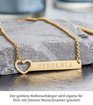 Kette mit Herzstanze Gold - Namensgravur - 3