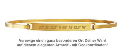 Armreif Gold mit Gravur - Geokoordinaten - 2